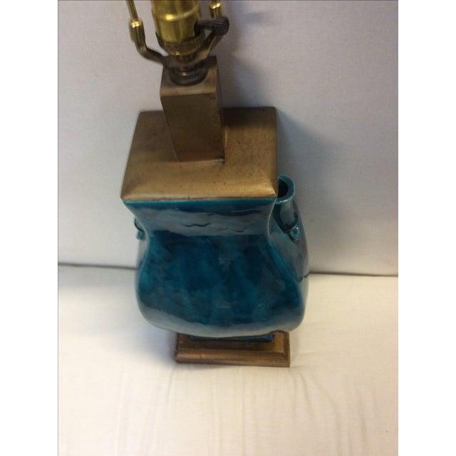 Turquoise Blue Asian Porcelain Lamp - Image 6 of 8