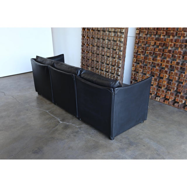 Black 1980s Vintage Leather Landeau Sofa by Mario Bellini for Cassina For Sale - Image 8 of 12
