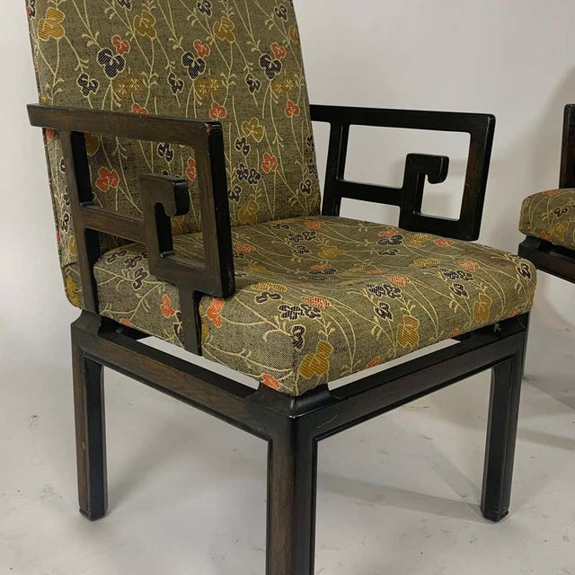 Black Pair of Greek Key Far East for Baker Chinoiserie Armchairs by Michael Taylor For Sale - Image 8 of 13