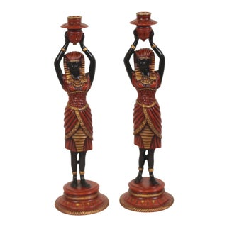 Egyptian Figurine Candle Holders - A Pair For Sale