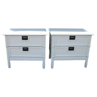 Thomasville Hollywood Regency Faux Bamboo Nightstands - a Pair