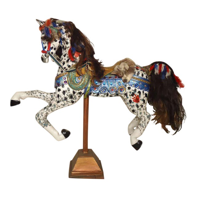 Vintage Antique Hand-Painted Wooden Horse For Sale