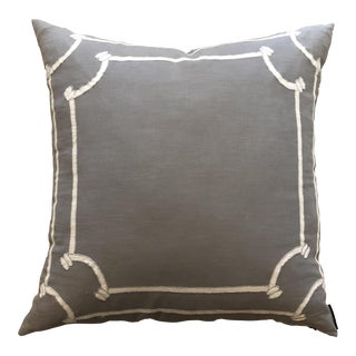 Lili Alessandra Gray White Linen Euro Pillow Case