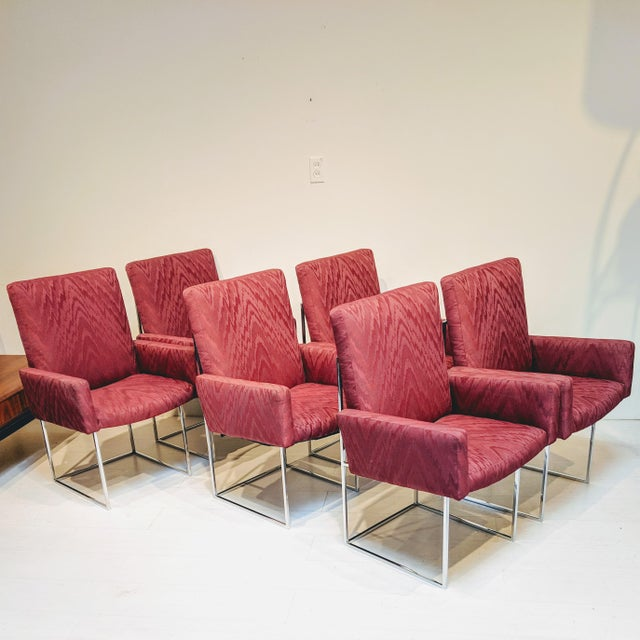 Mid-Century Modern Burgundy Milo Baughman for Thayer Coggin Captain Dining Chairs - Set of 6 For Sale In Los Angeles - Image 6 of 6