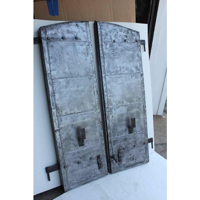 Rustic Late 19th Century Antique Distillery Metal Shutters- A Pair For Sale - Image 3 of 3