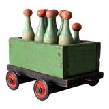 Image of Antique Skittles in Toy Cart For Sale