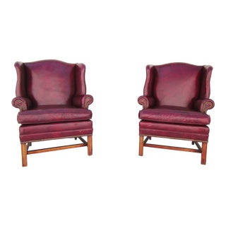 Mid-Century Modern Burgundy Leather Wingback Chairs - a Pair