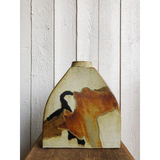 Cream Studio Pottery Slab Vase For Sale - Image 8 of 8