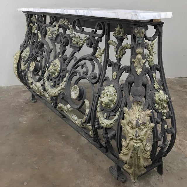 Napoleon III Period Cast Iron Marble Top Console For Sale - Image 11 of 12