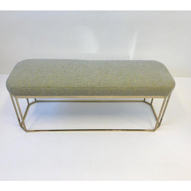 Gold Hexagonal Shape Brass Bench by Milo Baughman For Sale - Image 8 of 12