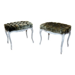 Pair of Vintage Louis XV Style Stools For Sale