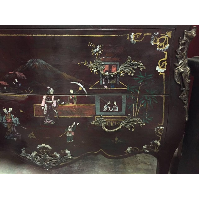 Black Pair of Louis XV Style Chinoiserie Marble-Topped Commodes For Sale - Image 8 of 13