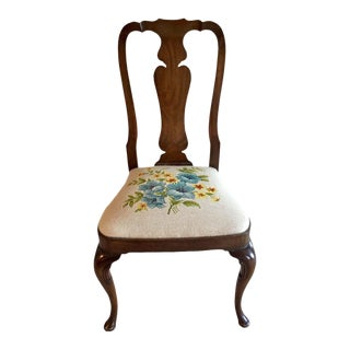 1970s Vintage Kindel Furniture Needlepoint Accent Desk Chair For Sale