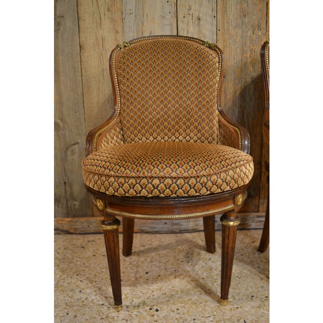 French Pair of Antique French Louis XVI Occasional Chairs circa 1880 For Sale - Image 3 of 8