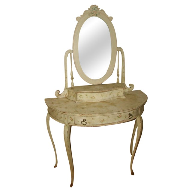 Flowered French Vanity With Mirror & Glove Box - Image 1 of 8
