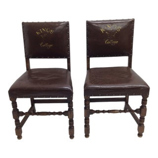 Early 20th Century Vintage Leather Covered Side Chairs- a Pair For Sale