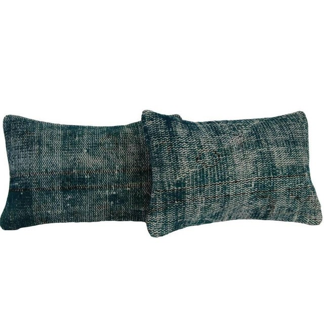 Turquoise Lumbar Over-Dyed Rug Pillows - Pair - Image 1 of 4