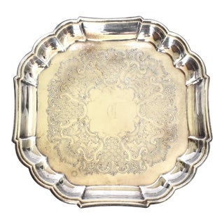 """Vintage Gorham Silver Plate Serving Tray With """"C"""" Monogram For Sale"""