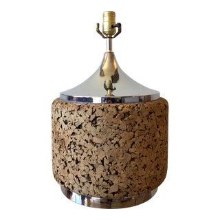 Vintage Cork and Chrome Laurel Table Lamp