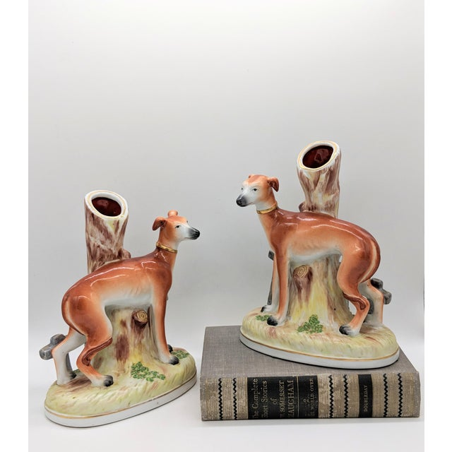 Stunning 20th century reproductions of rare greyhound/ whippet spill vases. The original spill vases were made circa 1850...