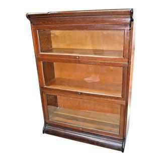 Vintage Grand Rapids Michigan 3 Stack Oak Barrister Bookcase For Sale
