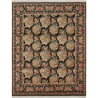 """William Morris Pak-Persian Bessarabian Black Pink Wool Rug - 8'1"""" x 10'1"""""""