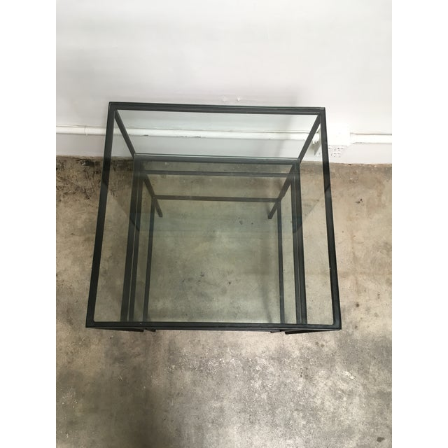 1950s Mid Century Modern Black Iron Frame & Glass Top Nesting Tables - 2 Pieces For Sale - Image 11 of 13