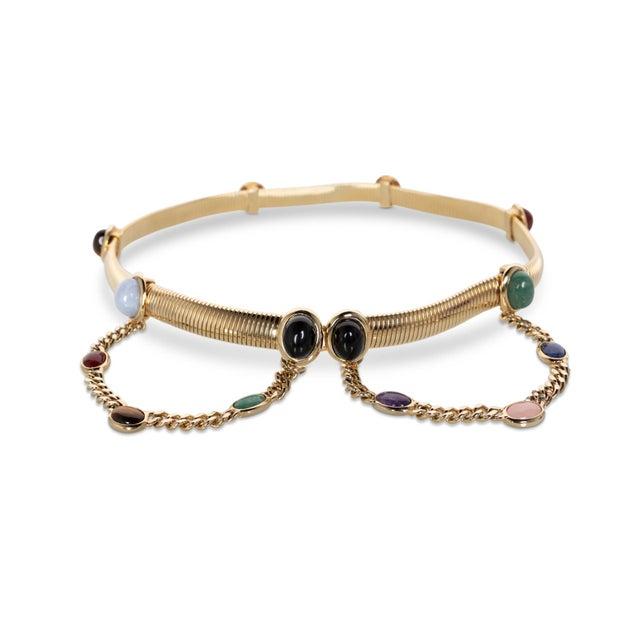 Art Deco 1990s Judith Leiber Gold Semi-Precious Stones Chain Belt For Sale - Image 3 of 7