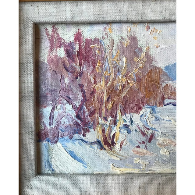 Impressionist Vintage Impressionist Style Oil Painting of Winter Landscape For Sale - Image 3 of 5