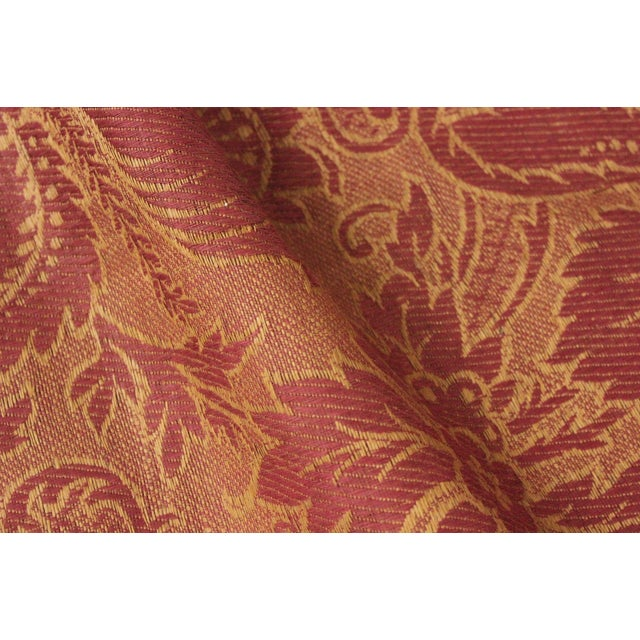Antique French Fabric 19th Century Jacquard Weave Furnishing Rust Tone For Sale