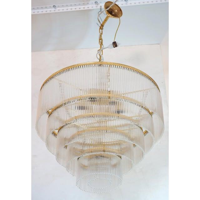 Murano Mid-Century Scolari Murano 7-Light Tiered Glass Tubes Chandelier For Sale - Image 4 of 10