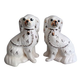 Antique White Staffordshire Dogs, a Pair