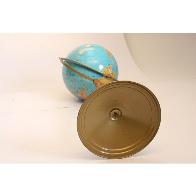 Vintage Revolving World Globe with Wood Pedestal Stand For Sale - Image 11 of 11