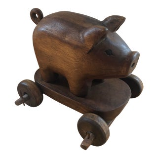 Antique French Country Hand Carved Wooden Pig/Hog on Wheels For Sale