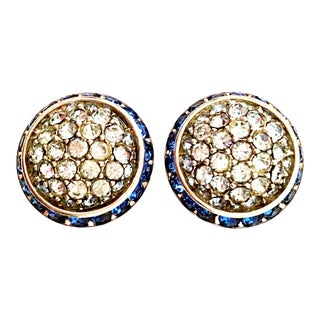 1960's Coro Silver & Blue Sapphire Crystal Dome Earrings For Sale