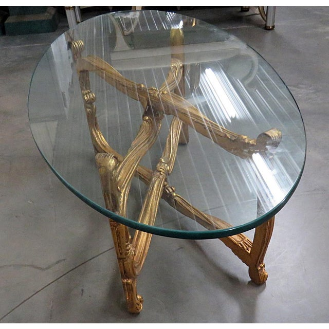 Gold Hollywood Regency Glass Top Coffee Table For Sale - Image 8 of 9