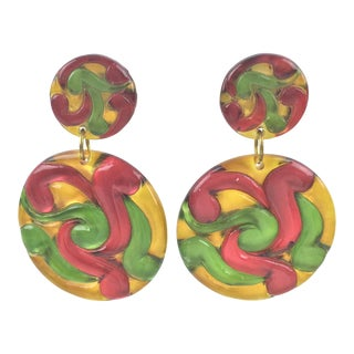 Dangling Lucite Clip on Earrings Multicolor Oversized Disk For Sale