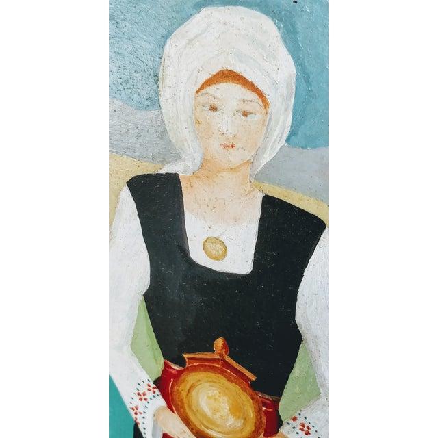 Vintage Mid-Century Bulgarian Soukman Saya Costume Folk Art Painting For Sale - Image 9 of 11