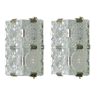 Mid Century Kalmar Wall Lights of Clear Molded Glass Panels - a Pair For Sale