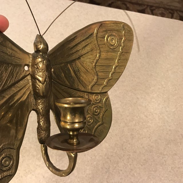 1970s Boho Chic Brass Butterfly Wall Candle Holder For Sale - Image 9 of 13
