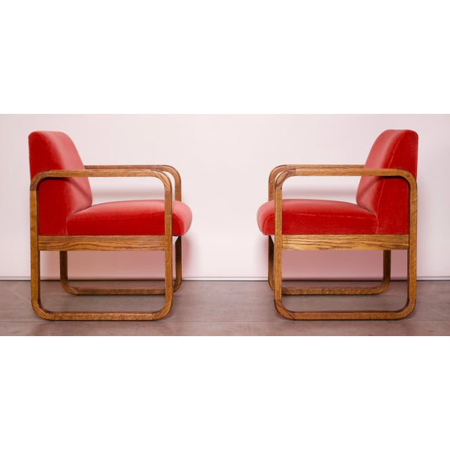 Fabric 1970s Mid-Century Modern Crimson Mohair Accent Chairs - a Pair For Sale - Image 7 of 13