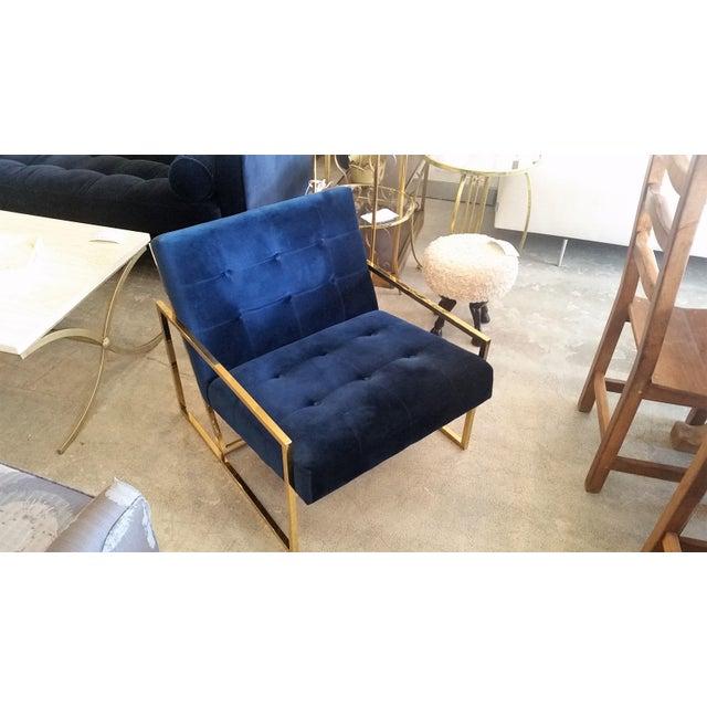 Jonathan Adler Goldfinger Blue Velvet & Brass Lounge Chair - Image 2 of 6