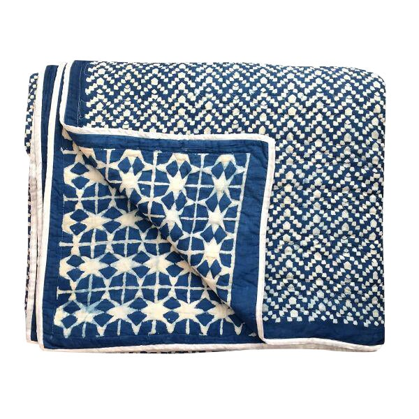 Contemporary King Nila Tara Navy Cotton Quilt For Sale