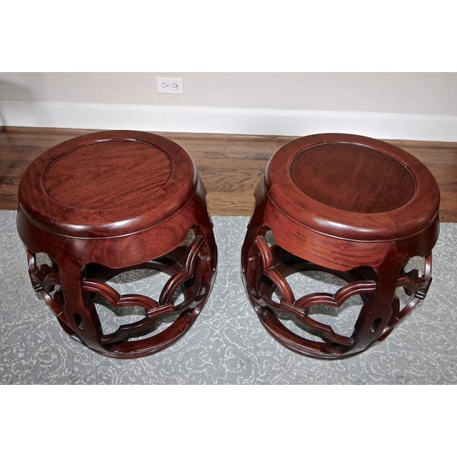 Asian 1950s Chinese Asian Hardwood Garden Seat Stools - a Pair For Sale - Image 3 of 10