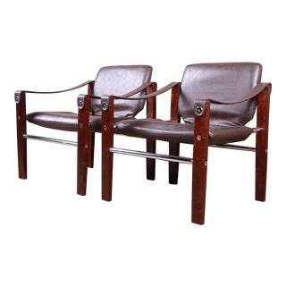 Maurice Burke for Pozza Mahogany and Leather Safari Chairs, Pair For Sale