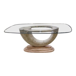Brass Inlay & Glass Top Tessellated Marble Dining Table Base - Circa 1990s For Sale