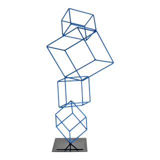 Geometric Blue Enamel Metal Op Art Cube Sculpture For Sale