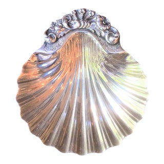 Antique Solid Silver Clam Shell Small Plate, Italy For Sale