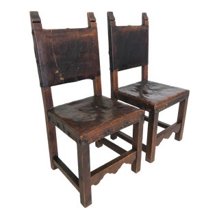 Rare Medieval Pair of Renaissance Era Dining Chairs For Sale