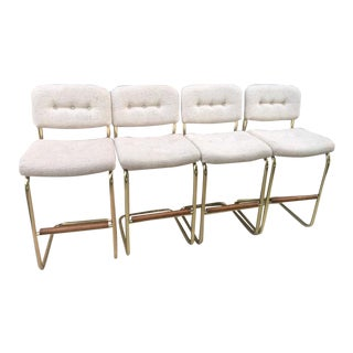1990s Vintage Cantilever Chromcraft Kittles Bar Chairs- Set of 4 For Sale